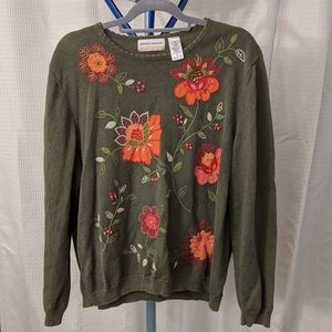 Alfred Dunner 3X olive floral embroidered sweater